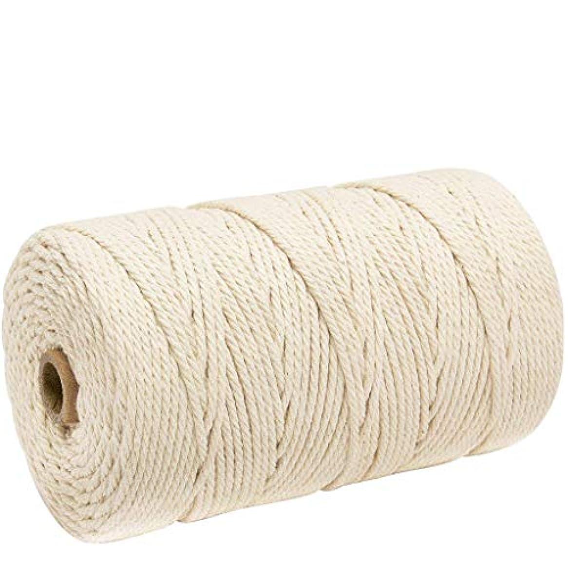 ナチュラルコットン マクラメ ロープ 紐 糸 手作り編み糸 綿 DIY壁掛けハンガークラフト編みコードロープ 3㎜ 200m (ライスホワイト)
