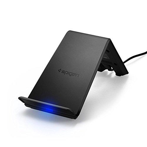【Spigen】 ワイヤレス充電器 急速充電2コイル スタンド型 置くだけ充電 USB付属 iPhone/Android スマートフォン・タブレットPC 各種他 Qi対応機種 各種対応 F303W 000CH21378 (ブラック)