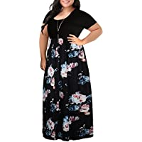 Nemidor Women's Chevron Print Summer Short Sleeve Plus Size Casual Maxi Dress