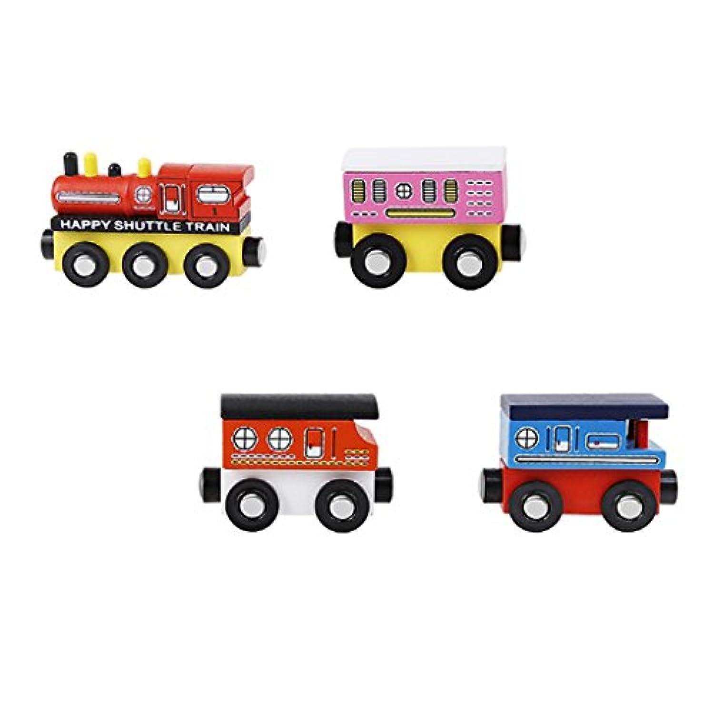 Sharplace 木製玩具 列車 磁気おもちゃ トレイン モデル 子供おもちゃ 贈り物 4個入