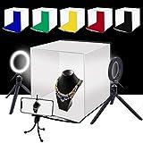 PULUZ 30cm 撮影ボックス+4.6インチLEDリングライト 撮影キット ポータブルあ折畳みソフトボックス 6色背景色(赤、緑、黄色、青、白、黒)携帯用ホルダー付き、写真撮影ブース 簡易スタイジオ 収納便利 組立簡単 サイズ:30 cm x 30 cm x 30 cm (30cmソフトボックス)