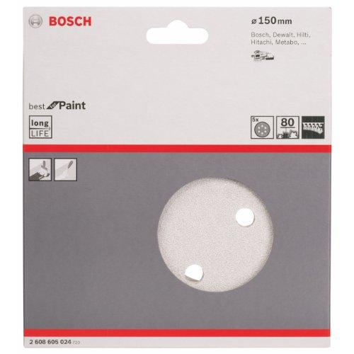 BOSCH(ボッシュ) サンディングペーパー 150mmφ #80(5枚入)〔2608605024〕