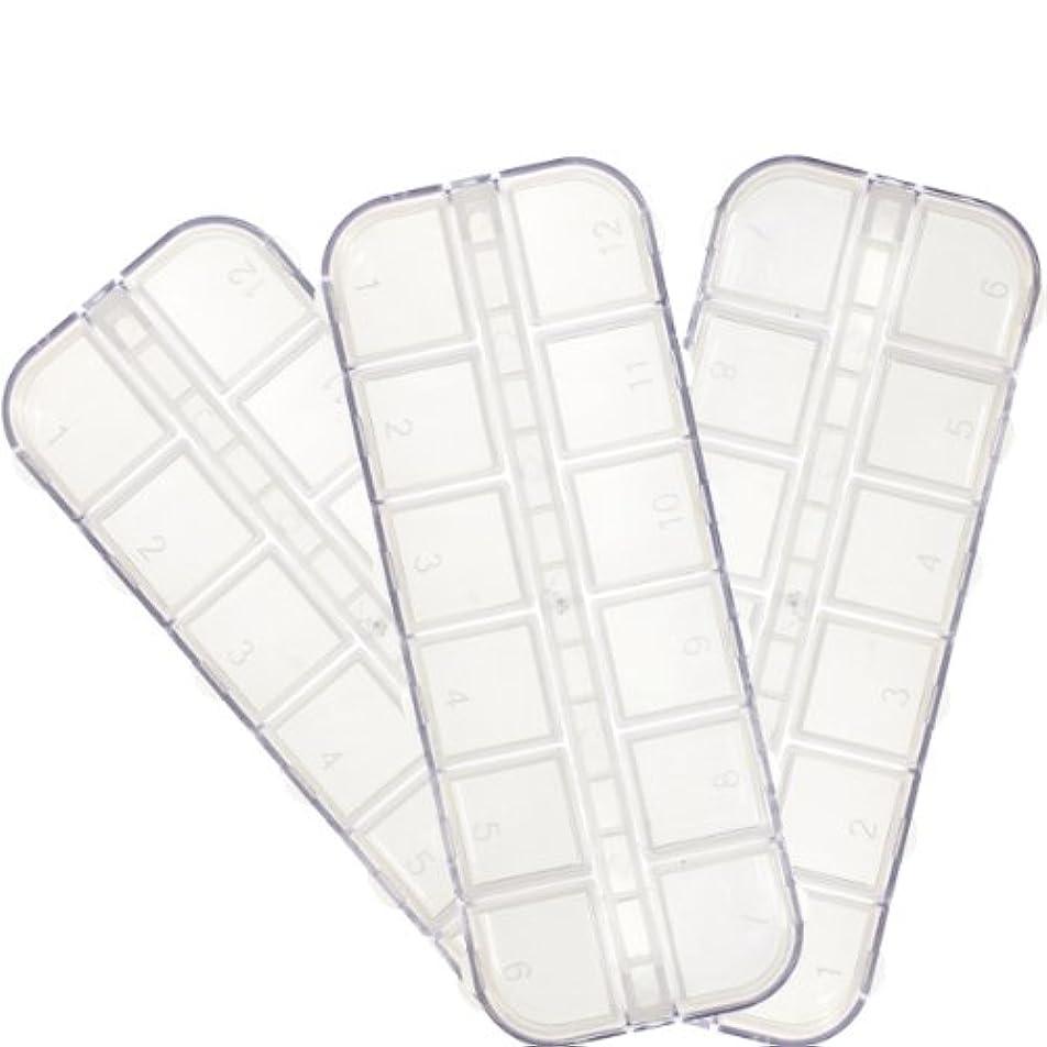 呼吸紳士カテナラインストーンケース3個セット ストーンやデコパーツなどを保管するフタつき収納容器12種類入れ