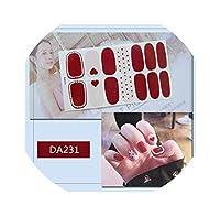 14ヒントフルカバーグラデーション光沢のあるネイルステッカー接着剤ラップ装飾DIY用美容花ネイルアートポーランドプレーンステッカー、DA231