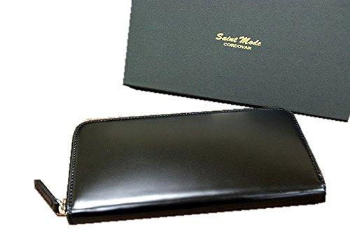 コードバン(馬尻革)×本ヌメ革 ラウンドファスナー長財布 (ブラック)