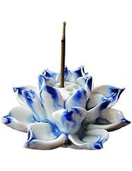 家庭用アロマセラピーストーブセラミック香バーナースティックホルダーロータス香バーナー灰キャッチャープレート香ホルダー (Color : Blue)