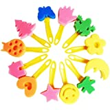 Toyvian 12pcs Painting Sponge Brushes Set Creative Flower Stamp DIY Art Painting Brush Tools with Roller Flat Brushes for Drawing Toys
