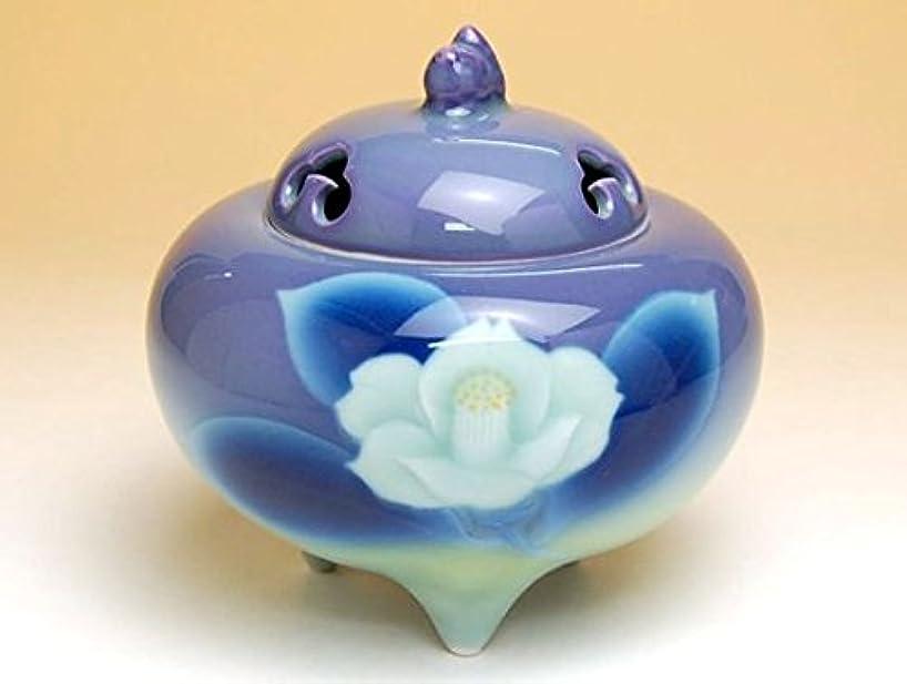 腐敗したヒロイック幸運なことに有田焼 紫彩椿 丸香炉(木箱入)【サイズ】胴径11.6cm×高さ11.5cm