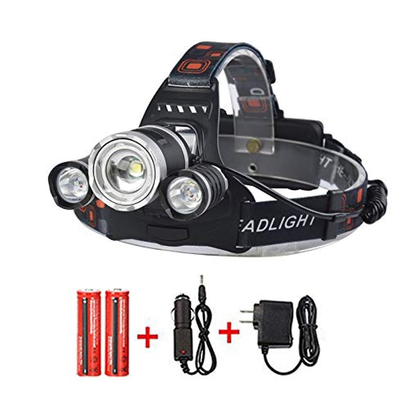 遅らせる抑制導入するLED ヘッドライト ヘッドランプ 3ライト 充電式 キャンプ/釣りなど 6000lm