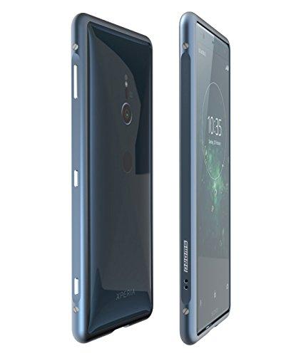sony Xperia XZ2 最新型改良版【SWORD】アルミバンパー ケース ストラップホール付 ソニー エクスペリア XZ1 メタル アルミバンパー (Sony Xperia XZ2, ブルー)