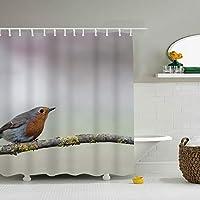 鳥シャワーカーテン,ポリエステル加工油は拨水防カビ浴カーテン、布芸プリントはカーテン