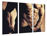 マルチウッドプリントアートプリントボックス額入り写真壁掛け - (全体の大きさ: 97 x 62 cm), セクシーな男、官能的、裸 - フレームと準備ができてハングアップ - ref. 26346