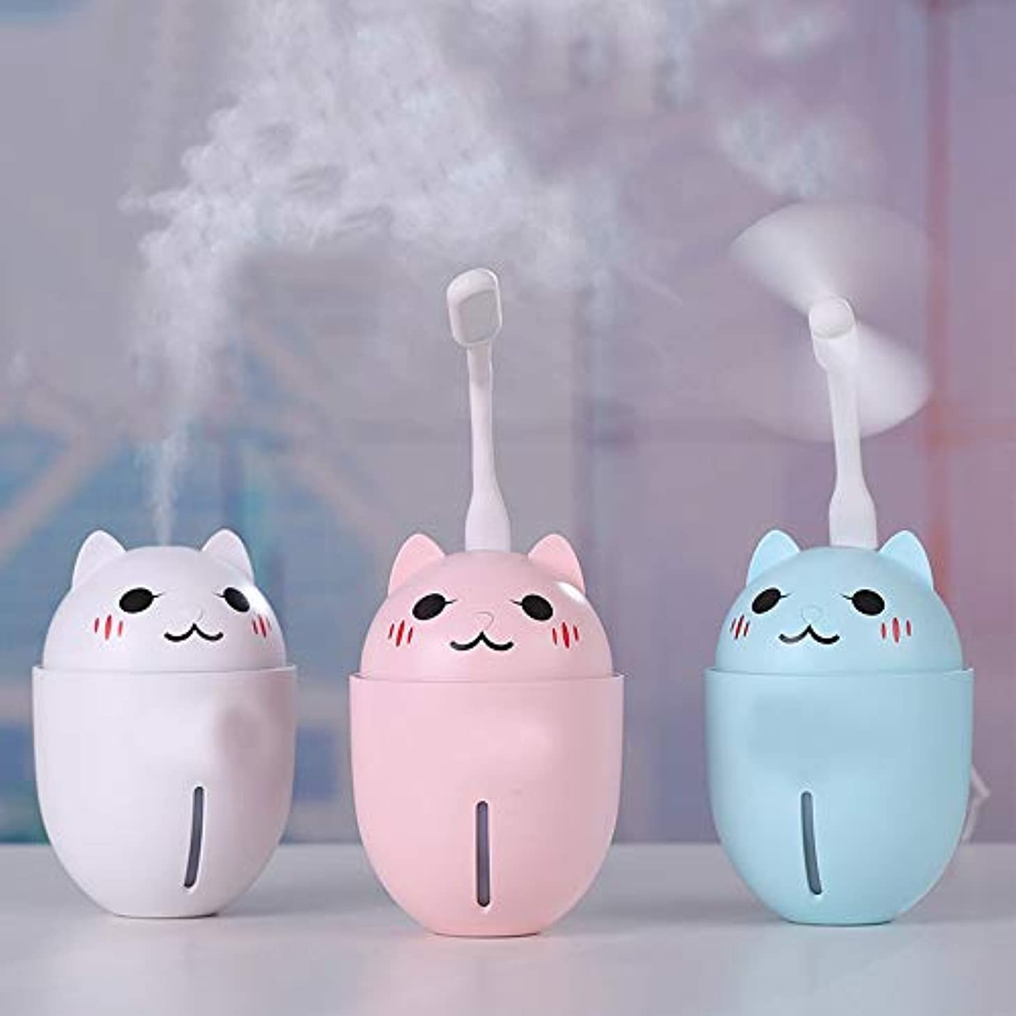 器具甥飾り羽ZXF 新しいクリエイティブかわいいペット猫加湿器家庭用電化製品3つ1つでミニusb水道メーターファンナイトライトブルーピンクホワイト 滑らかである (色 : Pink)