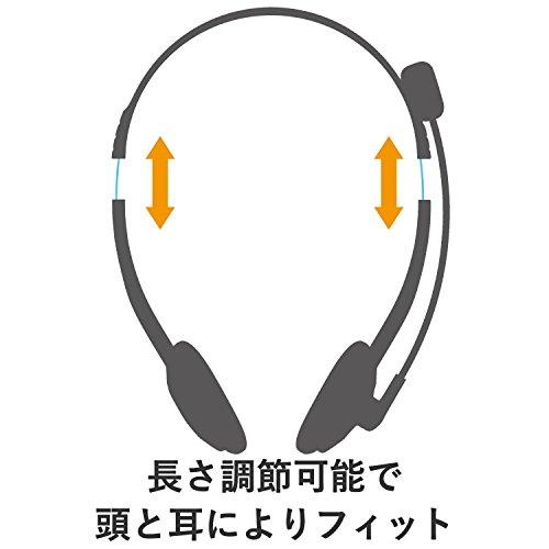 『エレコム ヘッドセット マイク USB 両耳 オーバーヘッド 1.8m シルバー HS-FBE01USV』の2枚目の画像