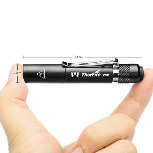 ThorFire PF03 ペンライト ミニ懐中電灯 110ルーメン 三モード 調光可能 IPX8防水仕様 単4電池対応