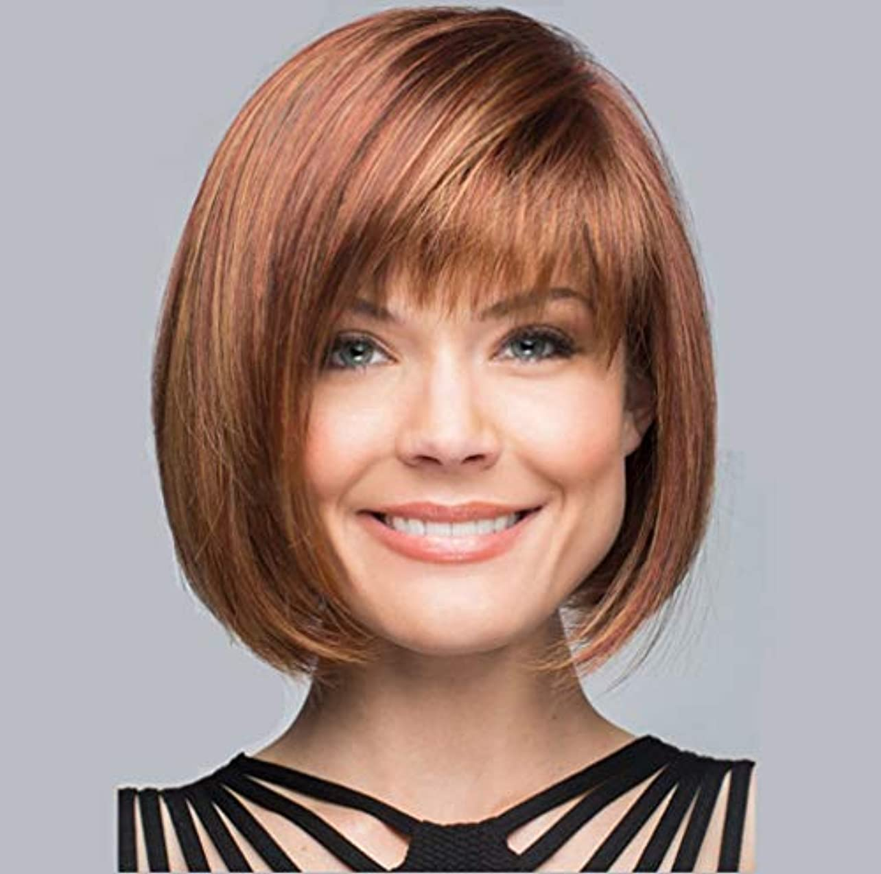 実際に器用鈍い女性かつらショートカール耐熱合成かつら150%高密度の毎日のパーティーハロウィンブラウン30cm