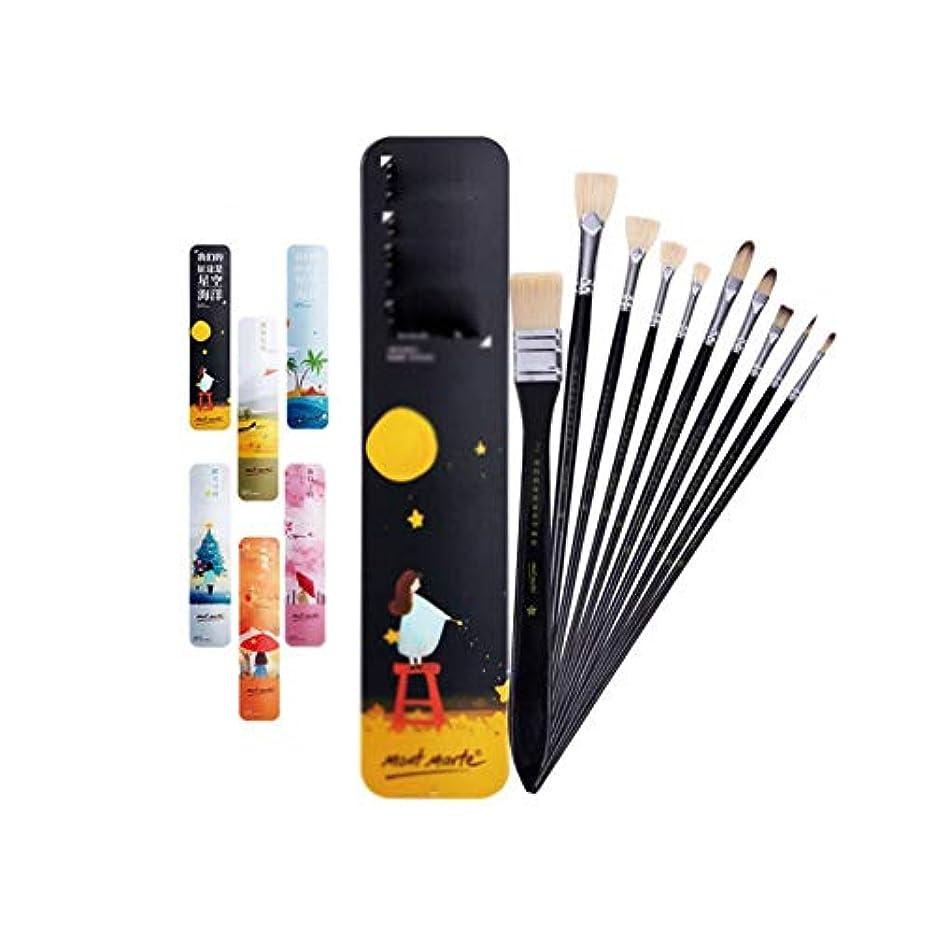 アトミック鎖結果Jielongtongxun001 ペイントブラシ、完全なモデル、糸くずの油絵/水彩/ペイントペンセットなし、縮れブラシなし、明らかな10本のアクリルブラシ用スティック(10パック、33 * 8cm) カラフル (Color : Black, Size : 33*8cm)