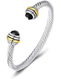 UNY Bracelet Designer Brand Inspired Antique Women Jewelry CZ Cable Wire Bangle Christmas Day Gifts (Black)