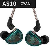 耳の中KZ AS10有線イヤホン4BAは、+ 1ドライバーのヘッドフォンHIFI低音ヘッドセット(カラー:シアン)