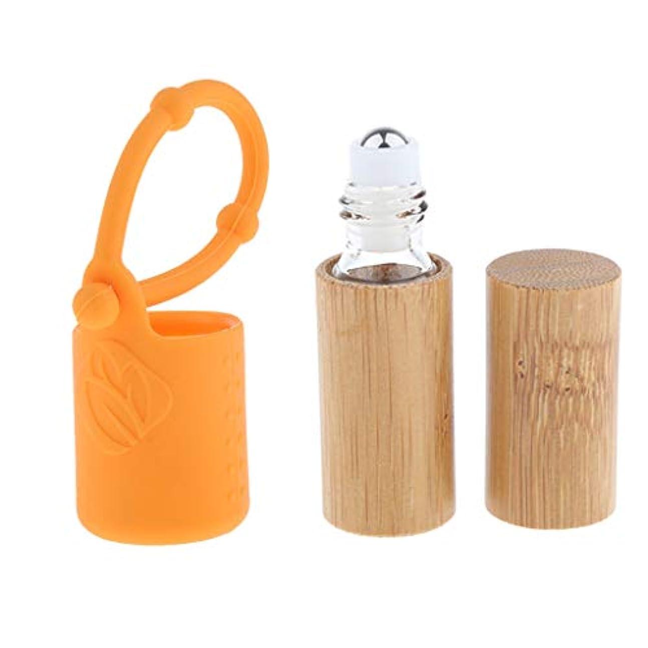 吸収する延ばすハシーdailymall 竹詰め替え可能な空のエッセンシャルオイルメイクアップ5 Mlボトル+カバースリーブセット