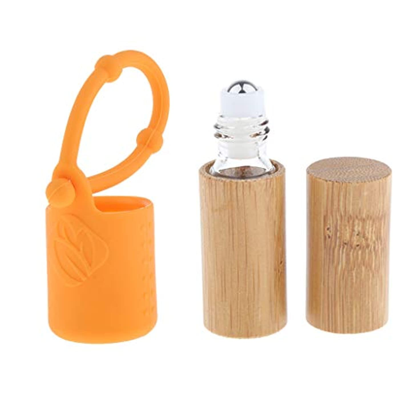 盗難有利バリアdailymall 竹詰め替え可能な空のエッセンシャルオイルメイクアップ5 Mlボトル+カバースリーブセット
