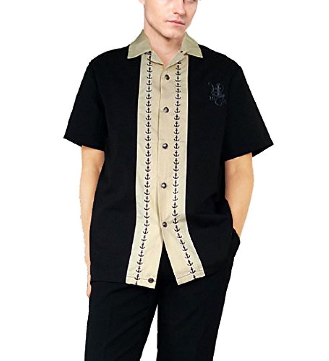 磁気フライカイト指RUMBLE59 ボウリングシャツ 碇刺繍 ボーリングシャツ ホワイト 開襟シャツ オープンカラー 半袖 メンズ ロカビリー