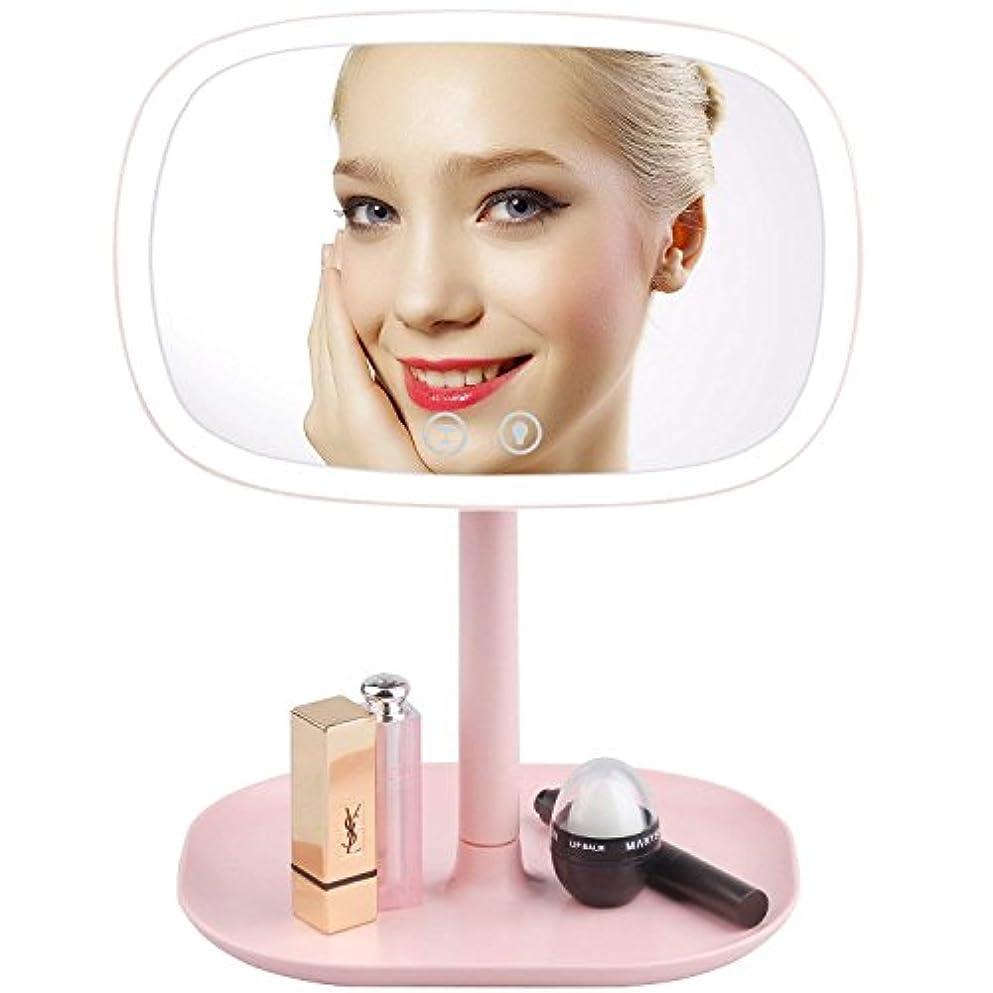 Youkiking 化粧鏡 女優ミラー 卓上 テーブルランプ LEDミラー 化粧照明 デスクライト 明るさや角度調整可 10倍拡大鏡付き 37個LEDライト付き 小物収納台座搭載 (ピンク)