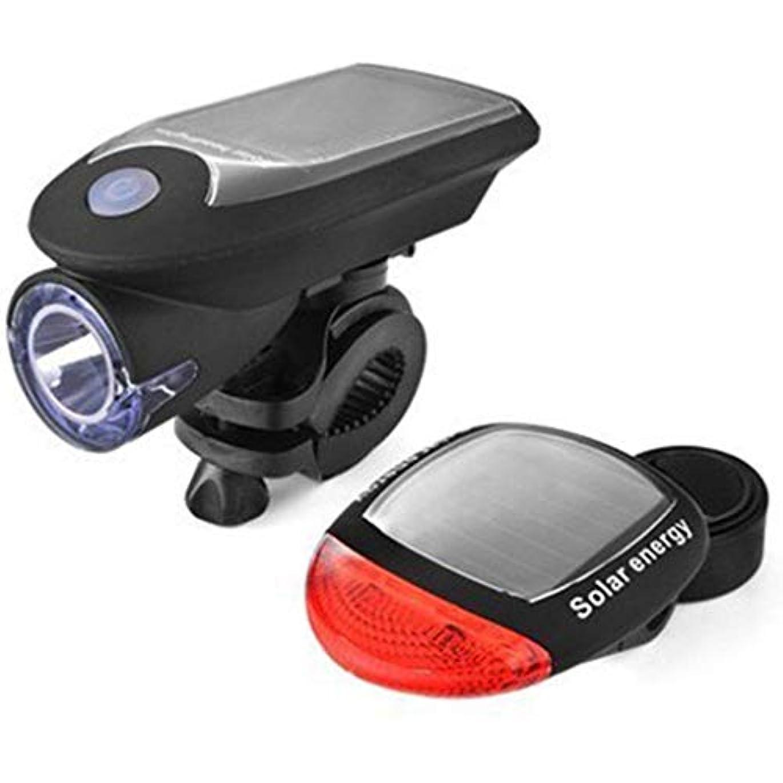 出身地突破口石自転車ライトセット USB充電式、LED 太陽エネルギー 自転車ライト 簡単にインストール 360°回転、自転車ヘッドライト