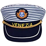 Amosfun 海のキャプテンハット ブルーストライプキャップ キッズ 調節可能 キャプテンハット マニアンスタイル 子供用 (54cm 調整可能)