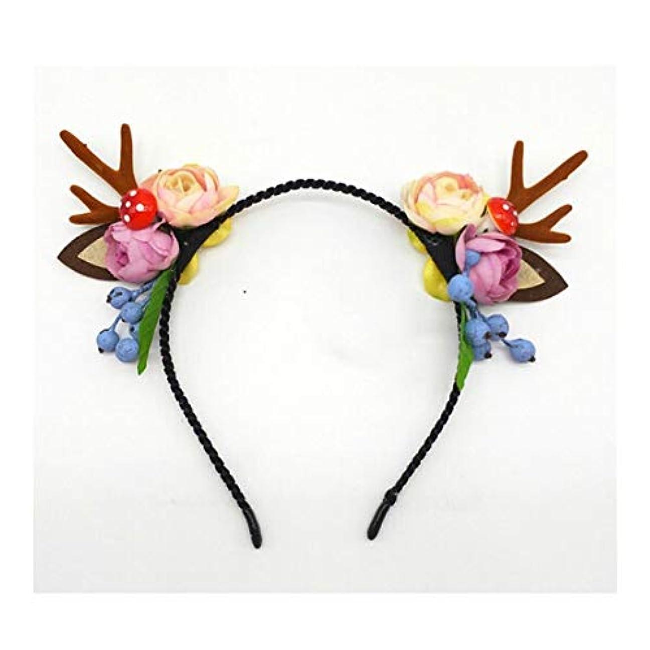 長老頑張るコーンウォールクリスマス枝角ヘッドジュエリーのヘアピン女性セン女性のヘアアクセサリーは、小さなヘラジカヘッドバンド女性茸の耳白い毛玉ヘアピンヘッドバンド (Style : A)