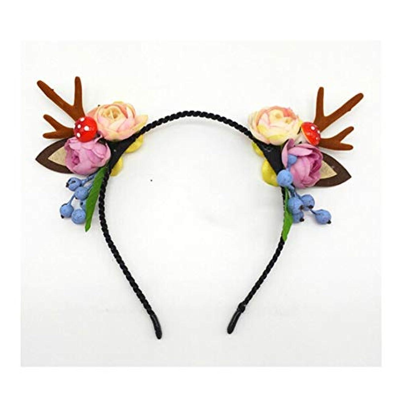 偏見オール方法クリスマス枝角ヘッドジュエリーのヘアピン女性セン女性のヘアアクセサリーは、小さなヘラジカヘッドバンド女性茸の耳白い毛玉ヘアピンヘッドバンド (Style : A)