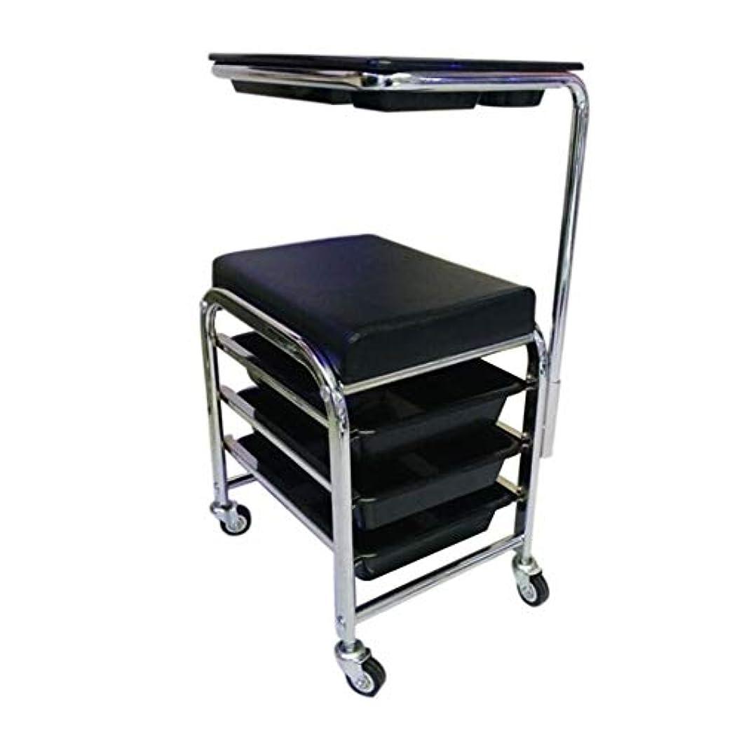 小競り合いアームストロングスカルクHIZLJJ マニキュアペディキュアブラックネイルカートスツール椅子サロンSPA 3引き出し付きのフットレスト付きw