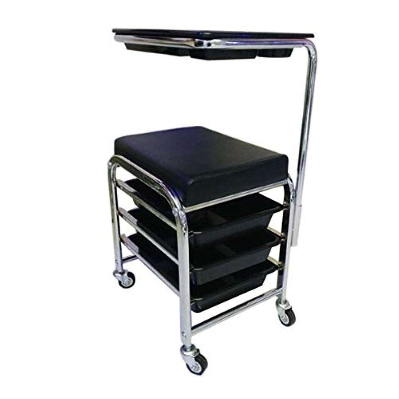 HIZLJJ マニキュアペディキュアブラックネイルカートスツール椅子サロンSPA 3引き出し付きのフットレスト付きw