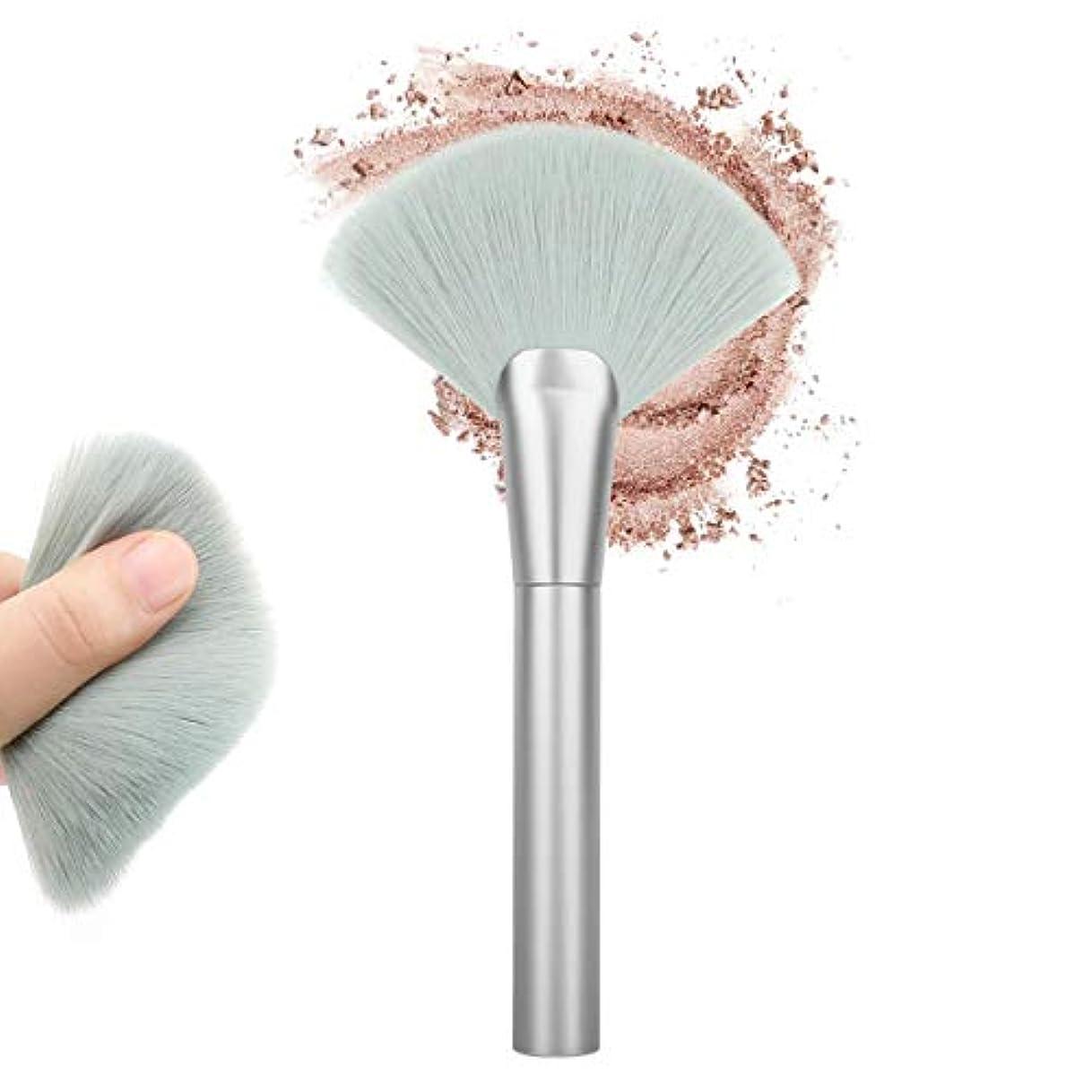 側概念トピックLuxspire メイクブラシ 化粧 ブラシ 1本 ファンデーションブラシ シャドウ フェイスブラシ 高級 化粧筆 扇形 ふわふわ 敏感肌適用 高級タクロン 清らか 緑銀色
