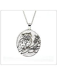 アンティーク銀フクロウのネックレス、フクロウのジュエリー、シルバーペンダントネックレス、動物ネックレス、鳥ジュエリー、ガールフレンドネックレス