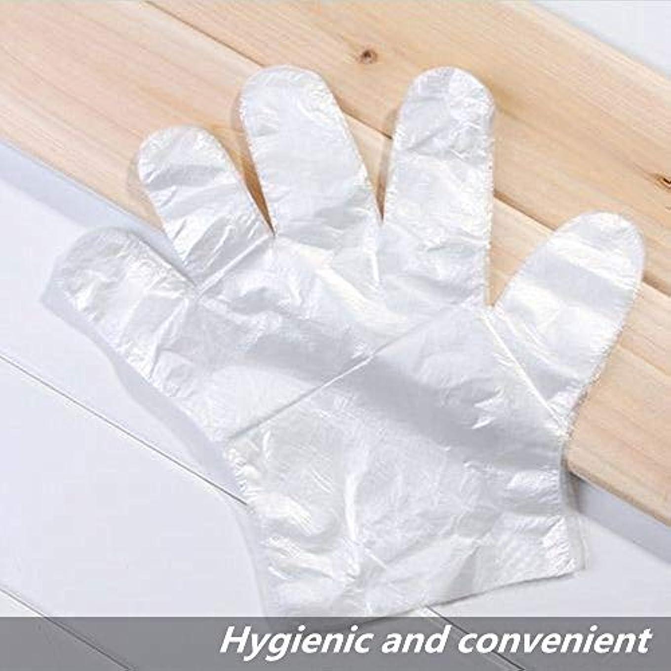 使い捨て手袋 プラスチック製使い捨て手袋 超薄型多機能透明なプラスチック手袋調理、掃除、染色などに適しています 50または100個 (100)