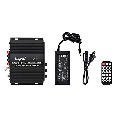 ONEU(ワンユー) 多機能ミニアンプ USB-SD ラジオ LED液晶 2チャンネル デジタルアンプ 赤外線リモコン 12V 5Aアダプター付属 車載用 ブラック