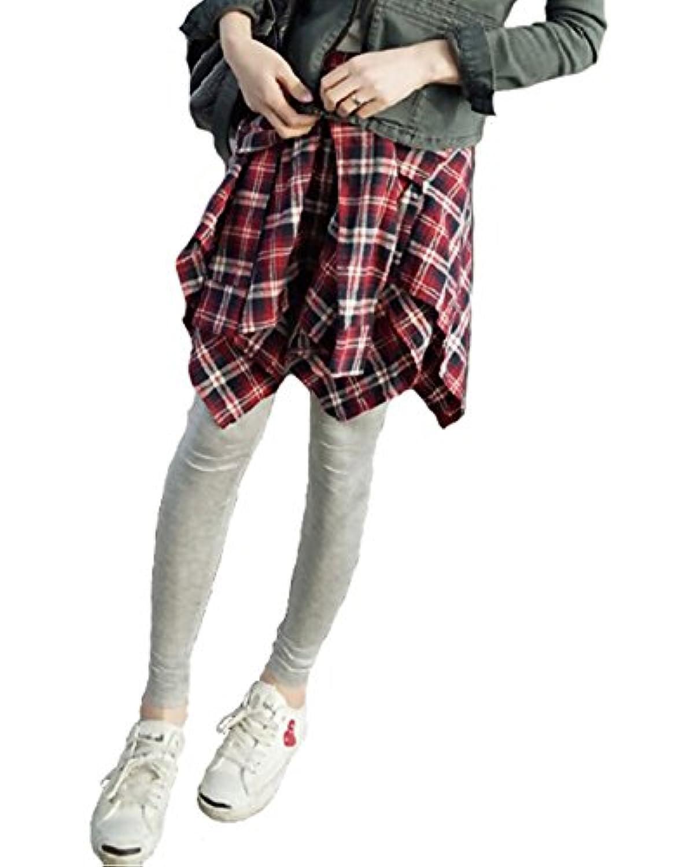 セレクティア(SELECTIA) レディース レギンス パンツ 腰巻風チェック柄 スカート付き 重ね着 ロング カラー レギパン 4色展開(黒赤?黒青?赤グレー?青グレー)フリーサイズ