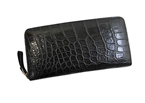 c16c49014609 《ヘンローン社》 クロコダイル 長財布 レディース メンズ 本革 ラウンドファスナー クロコダイル 財布 上質素材使用 マット仕上げ ブラック