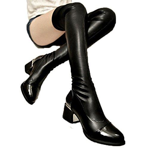 ワンース (Wansi) レディース ロング ブーツ ウインターストレッチブーツ 靴 秋冬 カジュアル ファッション 脚やせ 厚底 長靴 シューズ 24CM ブラック