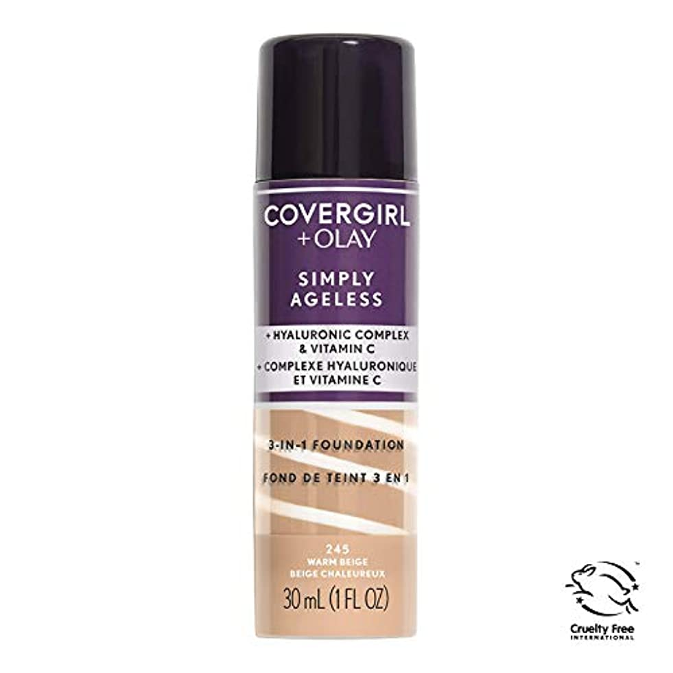 バット駅言い直すCOVERGIRL Simply Ageless 3-in-1 Liquid Foundation - Warm Beige 245 (並行輸入品)