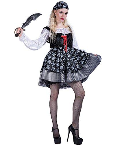 EraSpooky レディース 海賊 ずきん カリブ 髑髏 ドレス 仮装 コスチューム