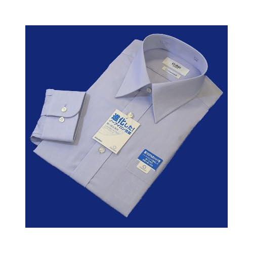 綿100%形態安定「日清紡シャツ」ブルー 42-84
