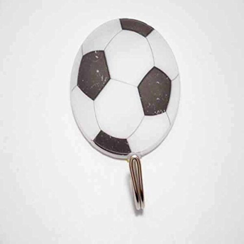 (訳アリ初期かすれあり) サッカーボール柄の壁掛けフック 1個 (白黒)