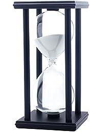 砂時計 60分計 透明感 木枠 長方形 ギフト 8色 (ブラック枠×ホワイト)