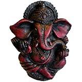 "Mini 2"" Ganesh Statue. Pocket Ganesha Statue Small for Bringing Good Luck, Success and Protection. (Dark Cherry Wood Patina F"