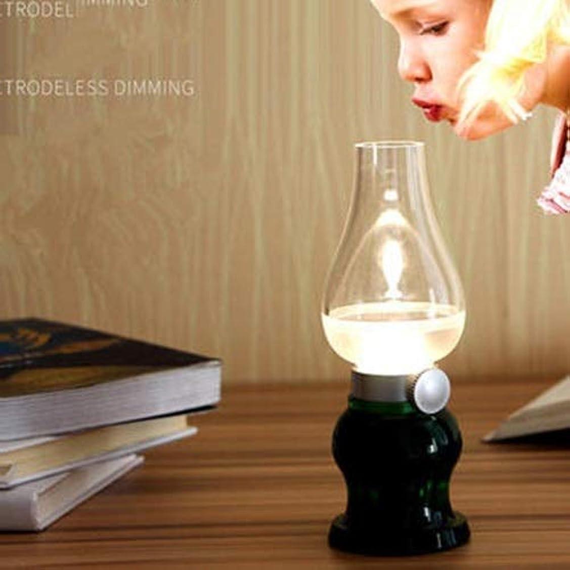 アパート定期的なそれらフレームレスLEDキャンドル調光可能吹く制御レトロ灯油ランプ充電式USB LEDランプナイトライト (Color : Green)