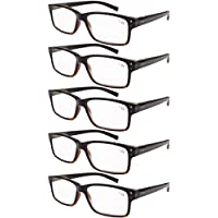 Eyekepper 5-pack Spring Hinges Vintage Reading Glasses Men Readers Black-Yellow Tortoise +2.5
