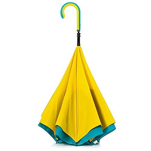 【CARRY saKASA (キャリーサカサ) CityModel】逆折り式傘 逆さ傘 テフロン加工 (イエロー/ライトブルー)