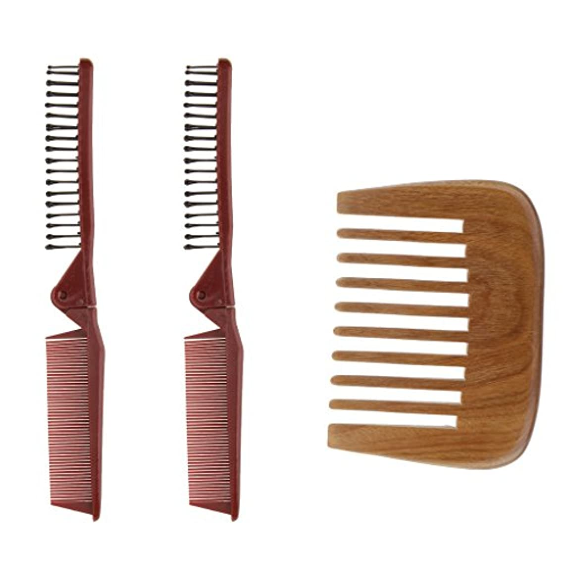石鹸父方のヒットCUTICATE 3帯電防止髪くしセット理髪折りたたみブラシスタイリングポケット旅行